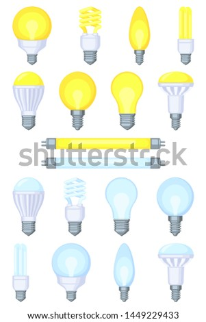 18 colorful cartoon light bulb set. Incandescent, fluorescent, halogen lamp and neon tube. Warm and cold light. Electricity themed vector illustration for stamp, certificate, banner, coupon decoration