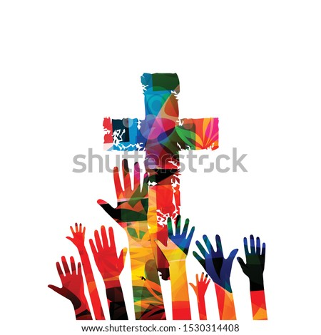 Colorful christian cross with human hands isolated vector illustration. Religion themed background. Design for Christianity, church charity, help and support, prayer and care stock photo