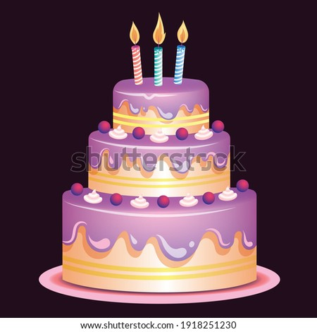 Colorful delicious desserts, birthday cake with candles and glaze. Decorative cake for holiday celebration. Sweet baked pie,  Birthday cake with colorful Sprinkles. Vector illustration.