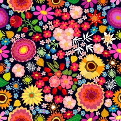 Colorful floral carpet. Seamless vector pattern with different floral elements. Chrysanthemums, asters, wildflowers on dark background. Japanese, Chinese, Korean motifs. Vintage textile collection.