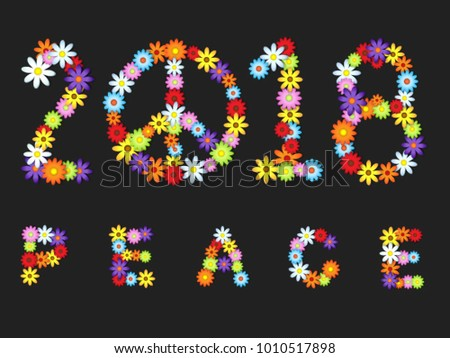 2018 colorful flowers peace sign over dark background