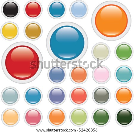 24 colorful glossy buttons. vector