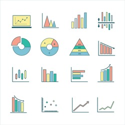 Colorful graph icon vector for business commercial market stock