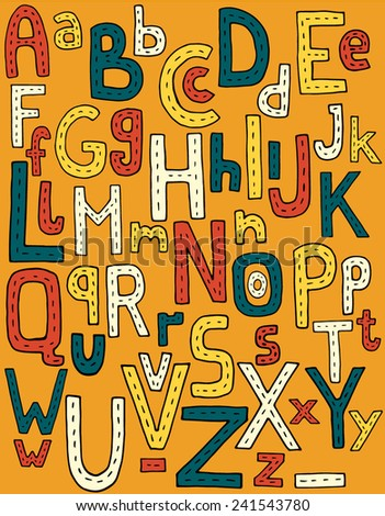 Colorful hand drawn children alphabet. Vector abstract alphabet. ABC doodle.