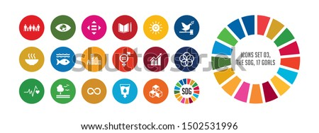17 colorful icon to change the society. Sustainable development goals. Global goals for good.