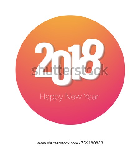 2018 colorful logo Happy New Year for greeting card, web template, banner design. Vector Illustration.