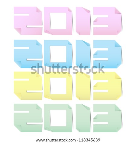 2013 colorful paper note stickers.Illustration