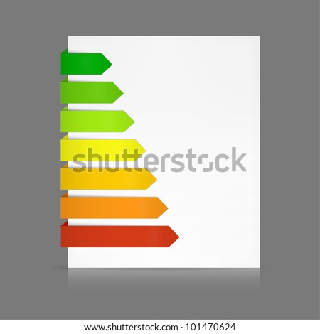 7 Colorful paper stripes of various lengths folded around a white sheet from dark green to red as e.g. in energy consumption levels or anything else according to your text. Transparent shadows. EPS10