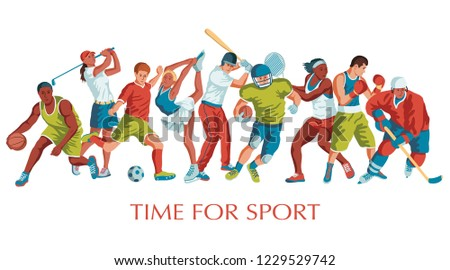 Colorful sport background. Football, basketball, hockey, soccer, golf, tennis, baseball, box. Vector illustration