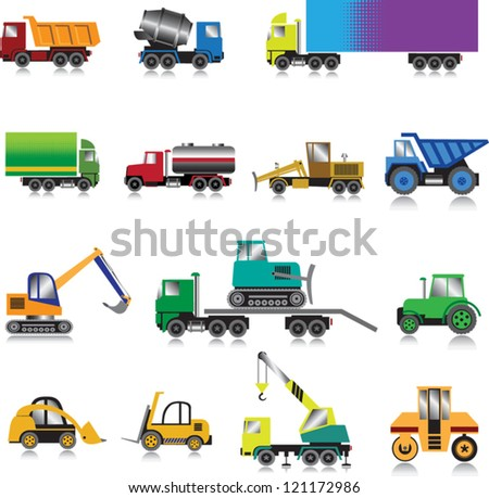 15 colour images of building cars on a white background