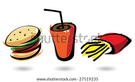 3 colourful fast food icons, isolated illustrations