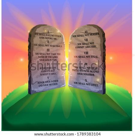 10 commandments stone vector illustration Stock photo ©