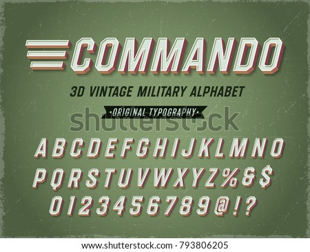 'Commando' Vintage Retro 3D Military Alphabet. Army Font. Original Athletic Department Typeface. Retro Typography. Vector Illustration.