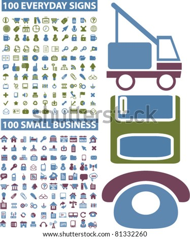 200 common & business icons, signs, vector illustrations