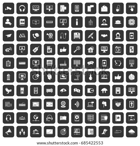 100 communication icons set in black color isolated vector illustration