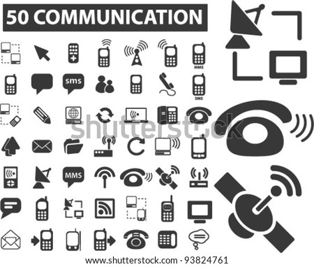 50 communication icons set, vector illustrations