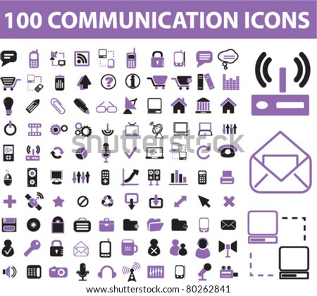 100 communication icons, signs, vector illustration