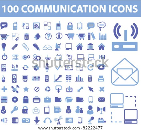 100 communication icons, signs, vector illustrations - stock vector