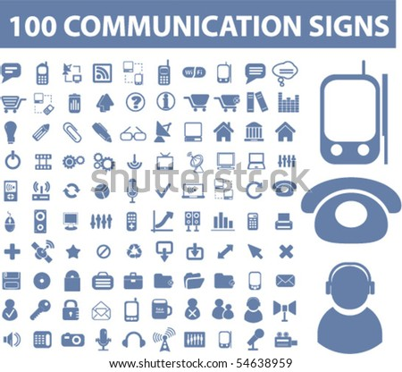 100 communication signs. vector - stock vector