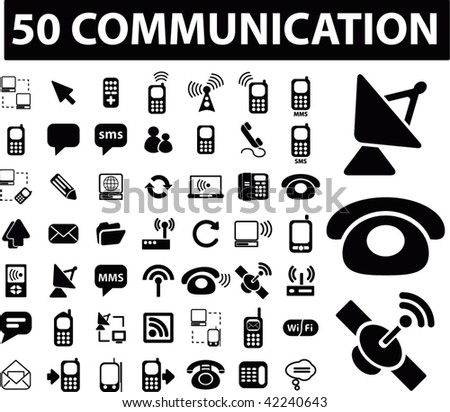 50 communication sings. vector