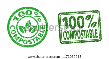 100% compostable stamps in grunge texture.