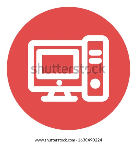 Computer, computer system. Bold Outline vector icon which can be easily modified do edit