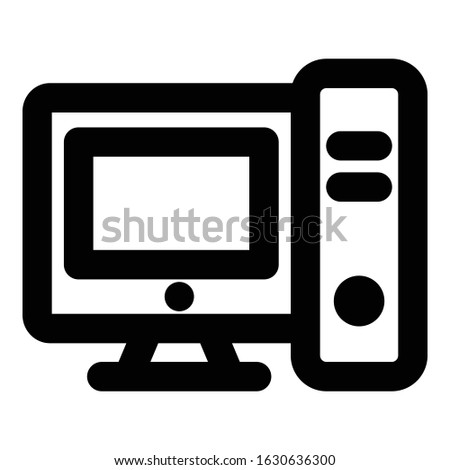 Computer, computer system Bold Outline vector icon which can be easily modified do edit