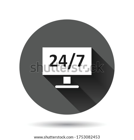 24 7 computer icon in flat