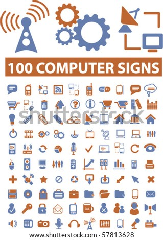 100 computer signs. vector