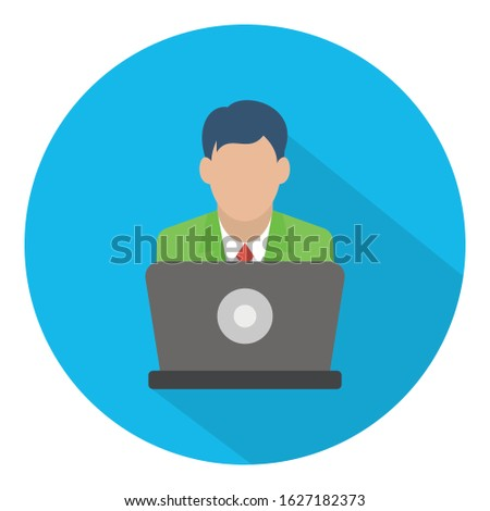 Computer user, online user Color Vector icon which can easily modify or edit