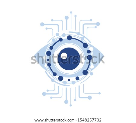 computer vision, technical vision, video surveillance system, augmented reality systems  isolated flat logo, icon