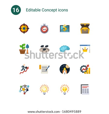 16 concept flat icons set