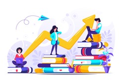Concept for web page, banner, presentation, social media, documents, cards. Vector illustration successful team, financing of creative projects, investment in education, knowledge, e-learning, e-boo