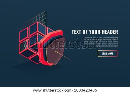Concept of protection digital data, database and server data guarding, blockchain, program blocks, shield isometric vector illustration