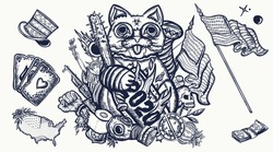 2020 concept. Unlucky lucky cat. Crazy time, great economic crisis, global epidemic. Protests in the United States. Old school tattoo graphic elements