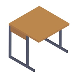 Conceptual icon of school desk icon in isometric design.