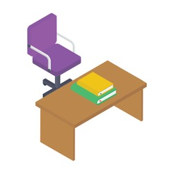 Conceptual icon of teacher desk icon in isometric design.