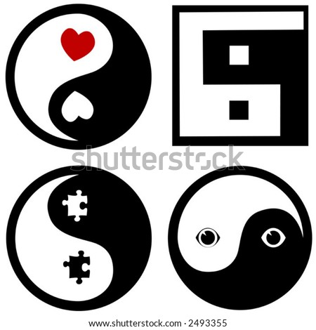 4 conceptual symbols for the price of 1: The Zen of Hearts; Lo-res Yin Yang; Puzzle Pieces; Toon Eyes