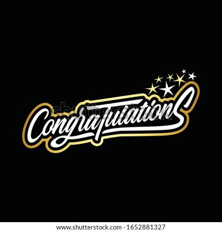 Congratulations word typography design illustration