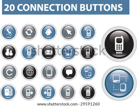 20 connection buttons - vector set - stock vector