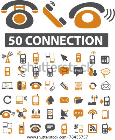 50 connection icons, signs, vector illustration