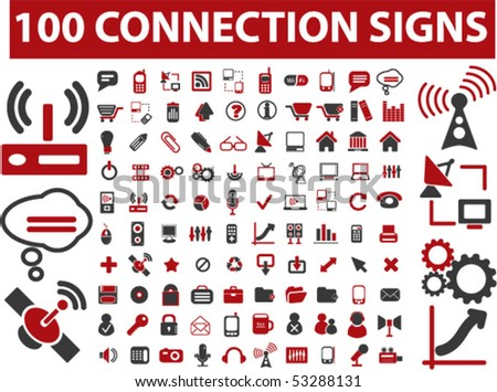 100 connection signs. vector - stock vector