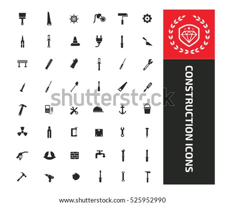 Construction and engineer tool icon set design,clean vector
