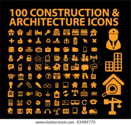 100 construction & architecture icons, signs, vector ilustrations