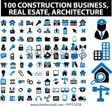 100 construction business, real estate, architecture signs. vector