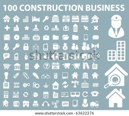 100 construction business signs. vector