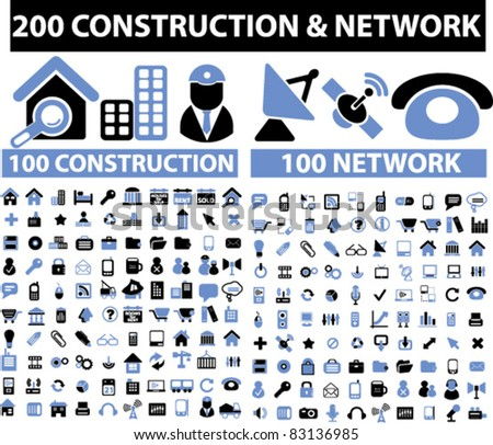 200 construction network icons signs vector for Contractors network