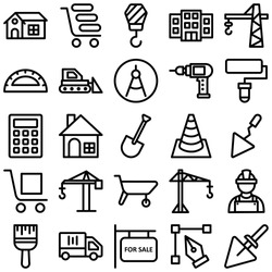Construction Vector Icons set every single icon can be easily modified or edited