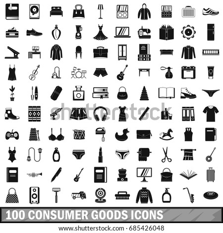 100 consumer goods icons set in simple style for any design vector illustration