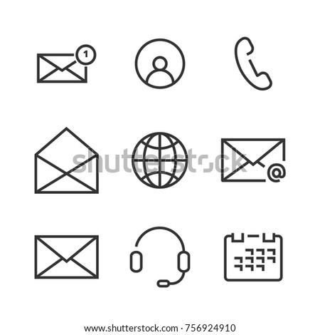 9 Contact Line Icons. Icons for user interface and web